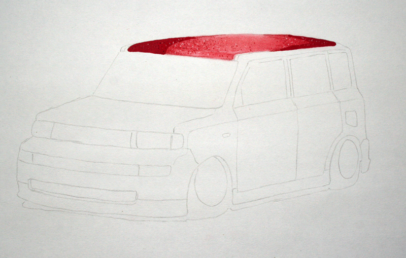 xB sketch with red flake roof added first