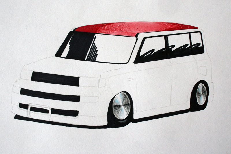 Scion xB sketch adding black for shadows, tires, grille