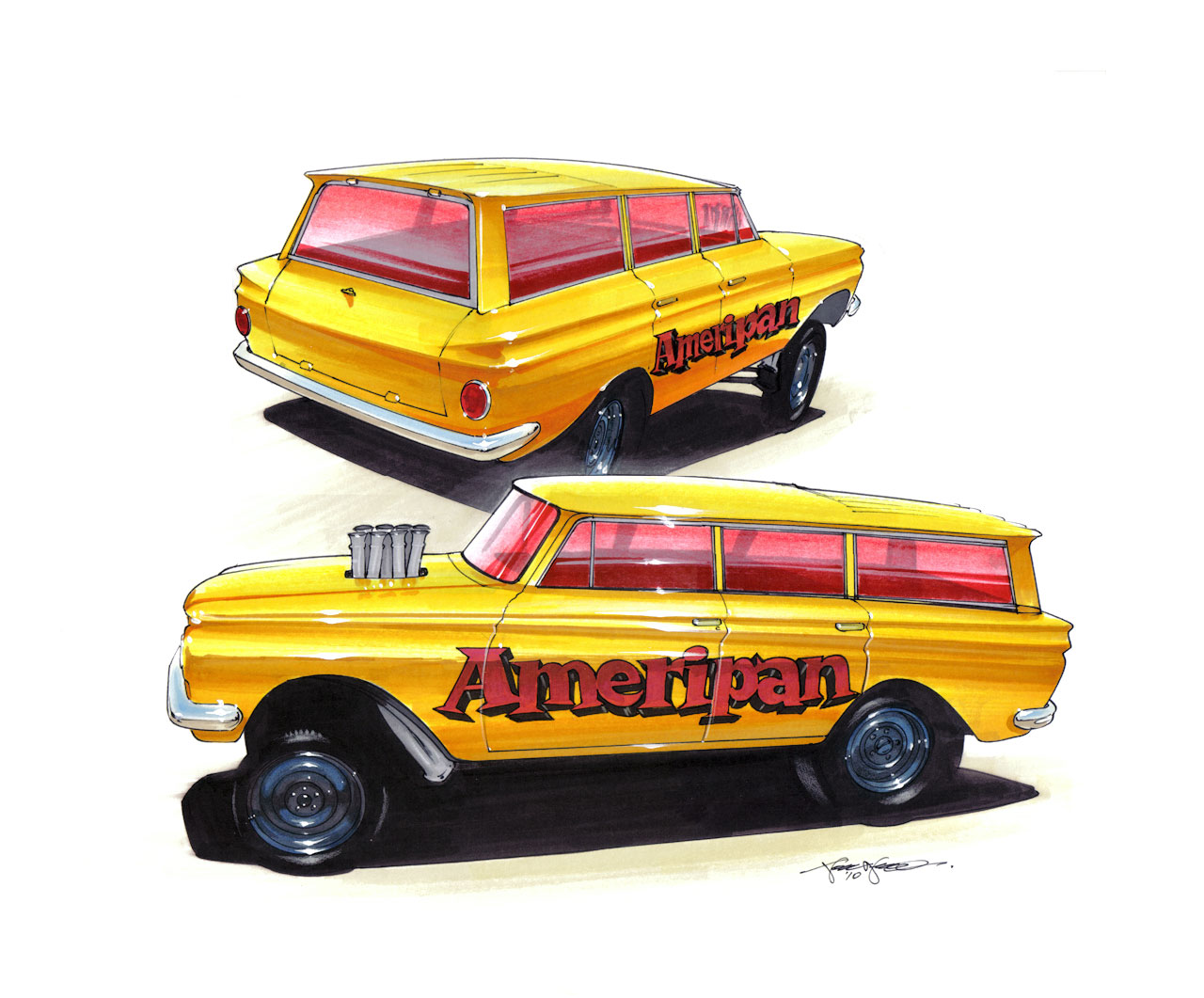 drawings of cars,Rambler American Gasser AFX, hot rod, drag racing, altered wheelbase