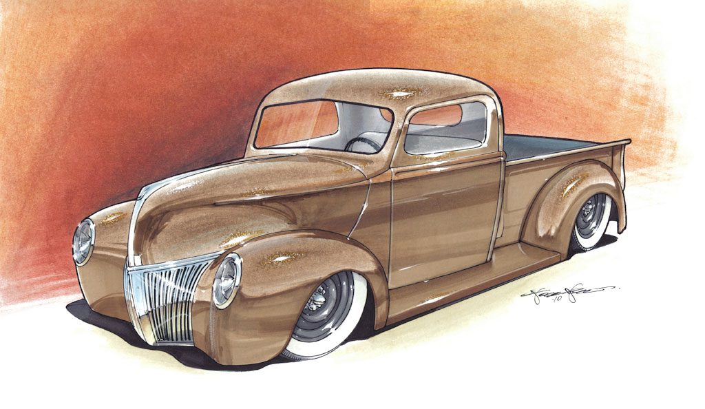 Brown 1940 Ford Custom hot rod truck by 1320 Designs