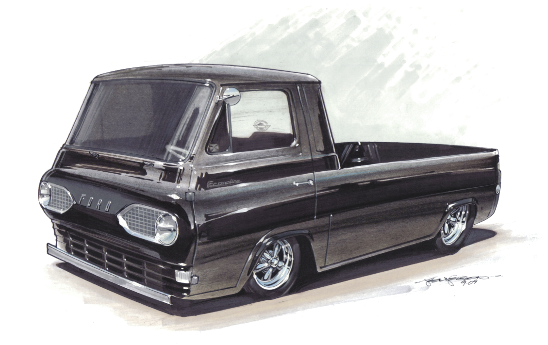 Ford Econoline pickup hot rod concept drawing by 1320 Designs