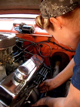 exhaust.greasegirl.headers working Grease Girl Mechanic, small block Chevy V8, block hugging headers, custom headers, exhaust system