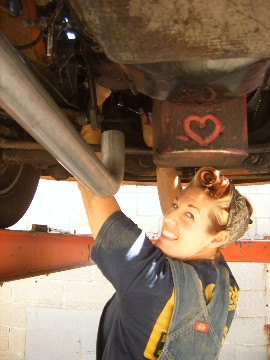 exhaust.grease girl.underwithheart, car, auto exhaust system