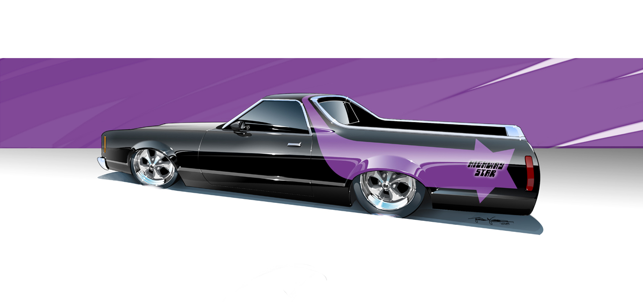 Custom Ranchero digital rendering by Joel Nelson