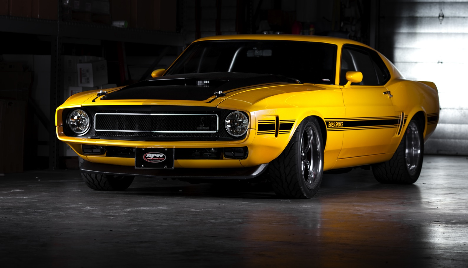 Goodguys giveaway Boss Stang and its sharp PPG Yellow paint