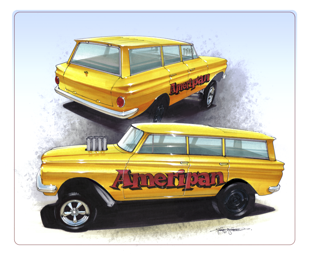 drawings of cars, Rambler American Gasser AFX, hot rod, drag racing, altered wheelbase