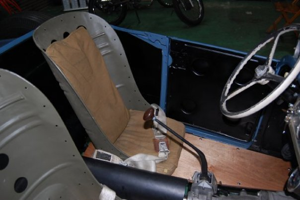 "Tanosan's 1926 Ford Model T interior with P-38 custom ""bomber seats"""