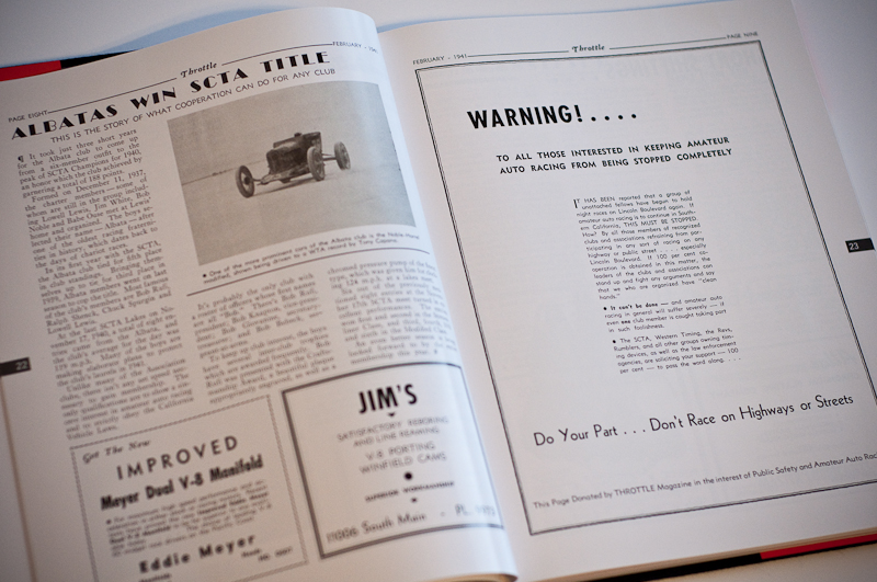 Throttle Magazine February 1941 issue warns against street racing