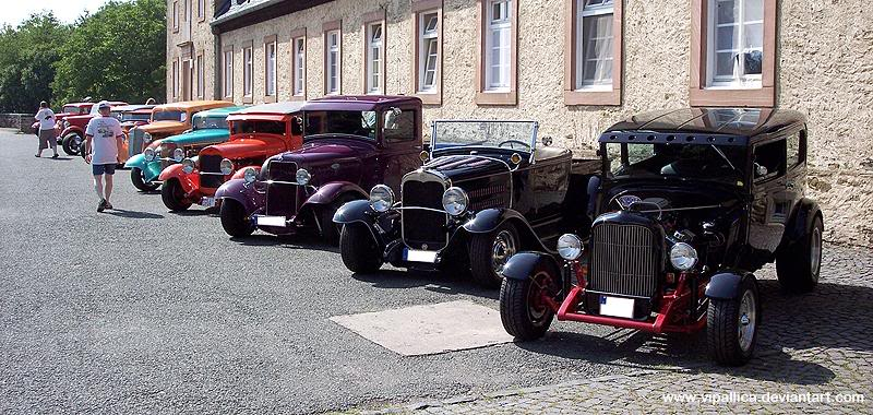 American Hot Rods In Germany Lined Up Together