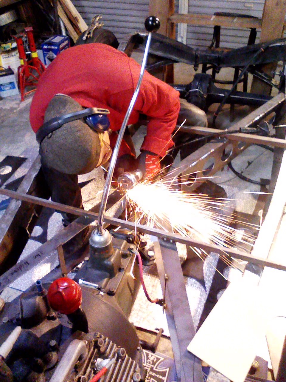 Ken Sakata of Trident Speed Shop grinding on a frame