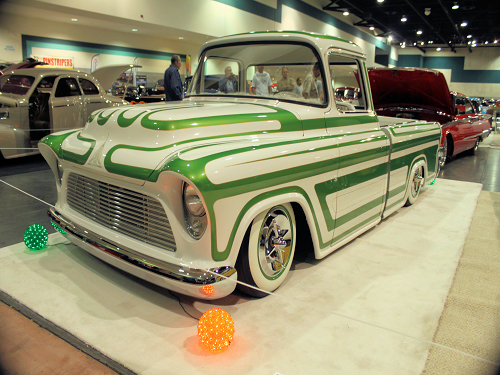 Custom Truck with green panel paint at Fresno Autorama