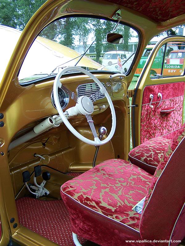 Gold and purple Mild Kustom inspired VW Bug interior