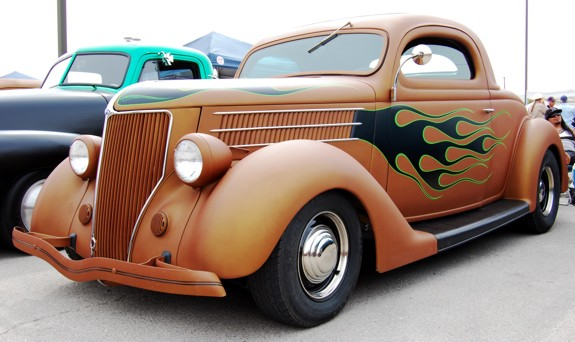 Hot Rod 1936 Ford Coupe at Viva Las Vegas 13 black flames copper suede paint vlv 2010