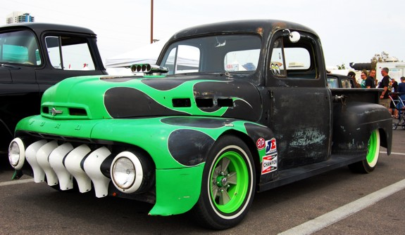 Hot Rod Ford Pickup at Viva Las Vegas 2010 vlv 13 primer black flamed flames