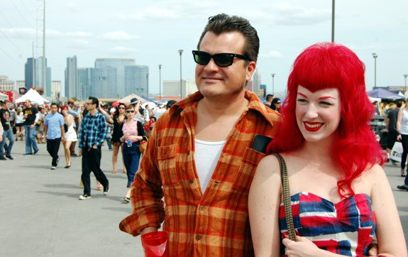 Rockabilly Hairstyles at VLV 13 Shifters Car Show people  viva las vegas 2010 red hair