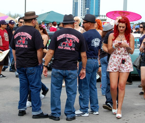 Satans Chauffeurs and Rockabilly Pinup Girl at VLV 13 Car Show people  viva las vegas 2010