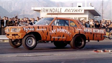 Gay Pontiac Tyree Headers Tiger Arnie Beswick at Irwindale Dragstrip