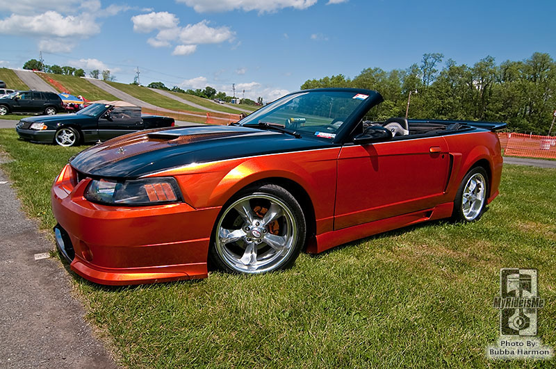 Mustang with an orange carbon fiber hood