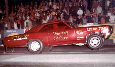 Ruby red Don Gay Pontiac Drag car at Irwindale dragstrip