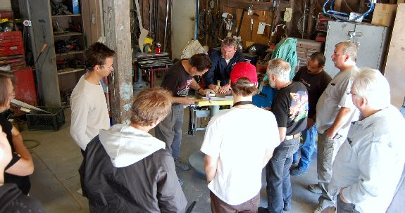Participants at Gene Winfields Metal-working Workshop custom car metal bodywork technique metal shop tools