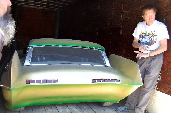 Gene Winfield and The Reactor custom movie car star trek green space car, catwoman car
