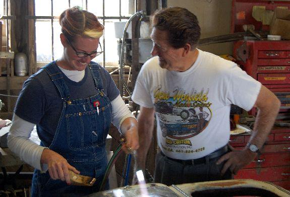 GreaseGirl Learns Leading With Gene Winfield metalworking technique custom car bodywork