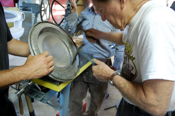 Gene Winfield Fixing GreaseGirl's Hubcap how-to fix a hubcap custom car metal bodywork technique