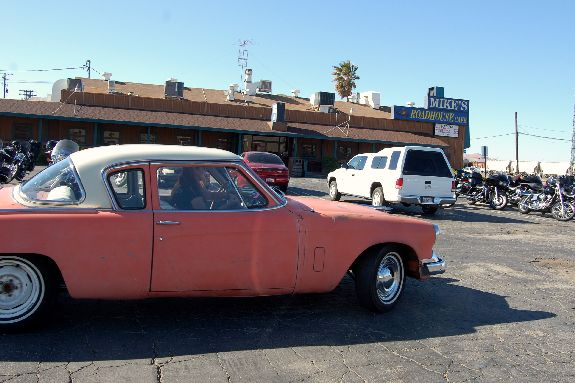 Grease Girl and 1955 Studebaker champion leaving Roadhouse Mikes in Mojave for Gene Winfield's
