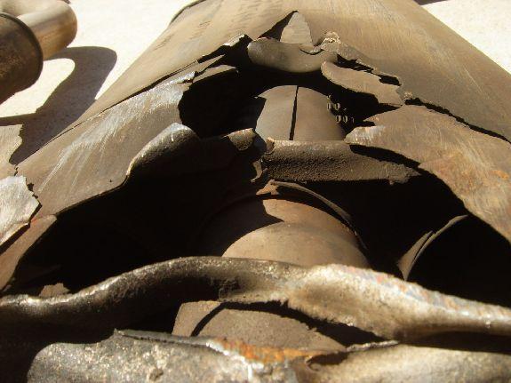 Torn Up Muffler wrecked muffler inside hole exhaust system how to B&C Industries