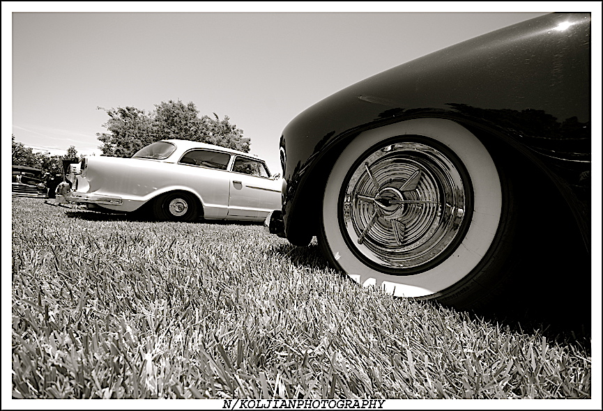 Hubcaps, white walls, Road Zombies BBQ and Car Show, stance