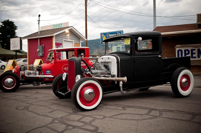 Burger Stop car show, model A, hot rods, Bonneville Speedweek, white walls
