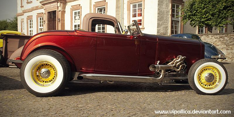 Ford, traditional hot rod, deuce roadster, white walls, wire wheels
