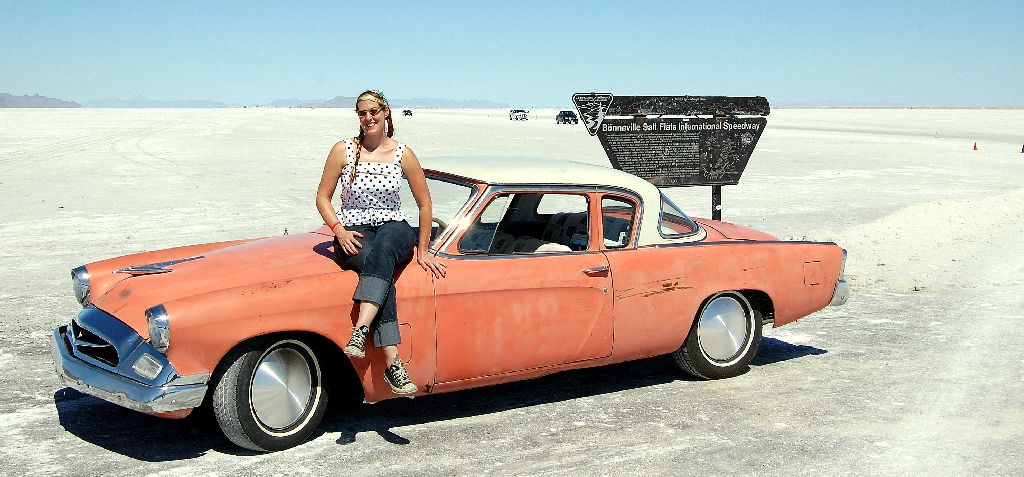 Grease Girl with Studebaker at Bonneville