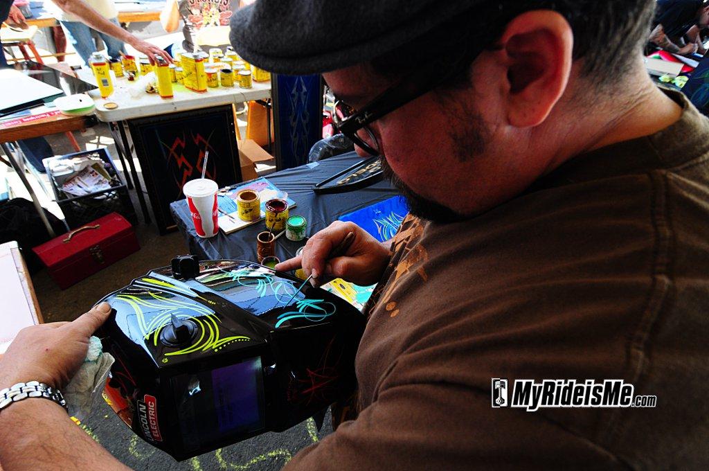 Pinstriping, custom, LA Rodster Show, Mitch Maciel