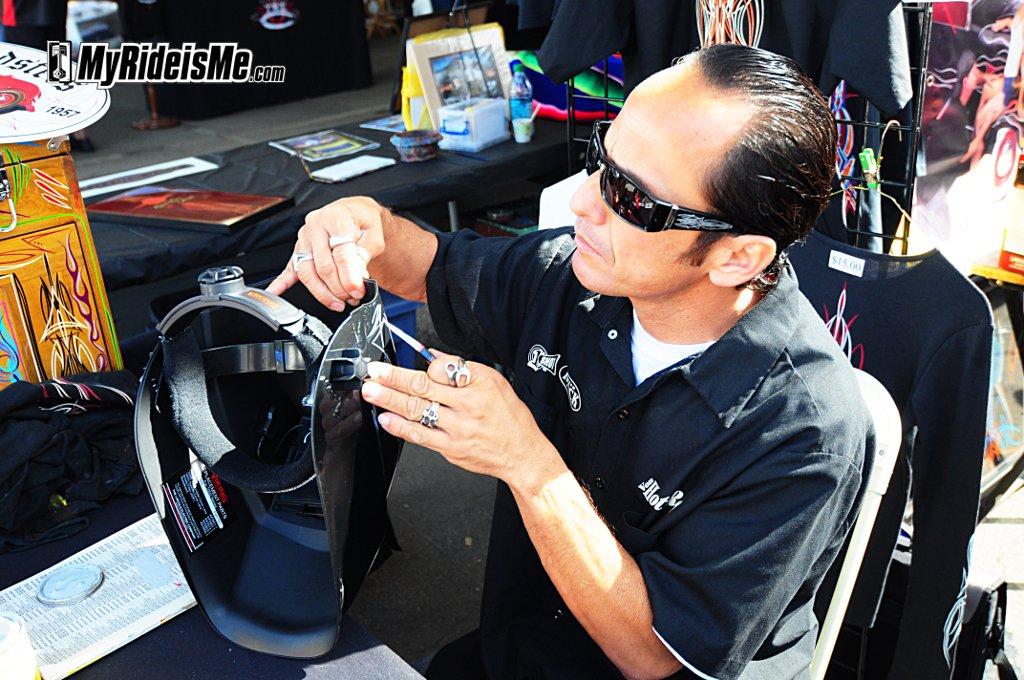 Hot Rod Artists Pinstriping On Custom Helmet 1