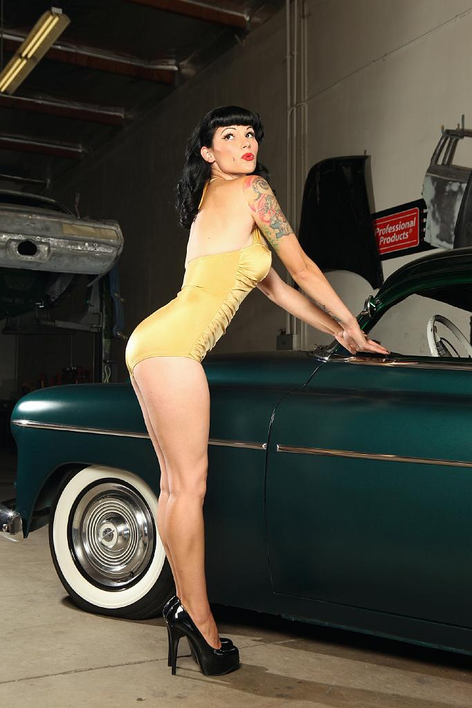 swimsuit pinup,custom cars, hot rods