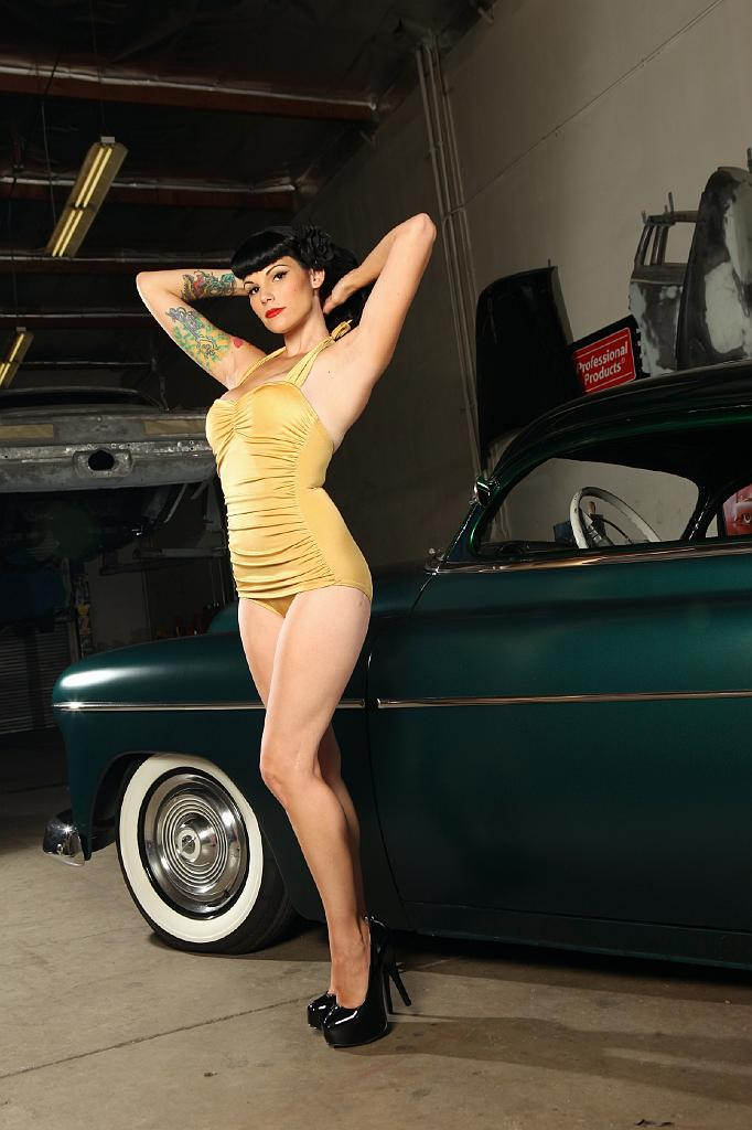 Pinup, vintage, auto shop, swimsuit, mitzi
