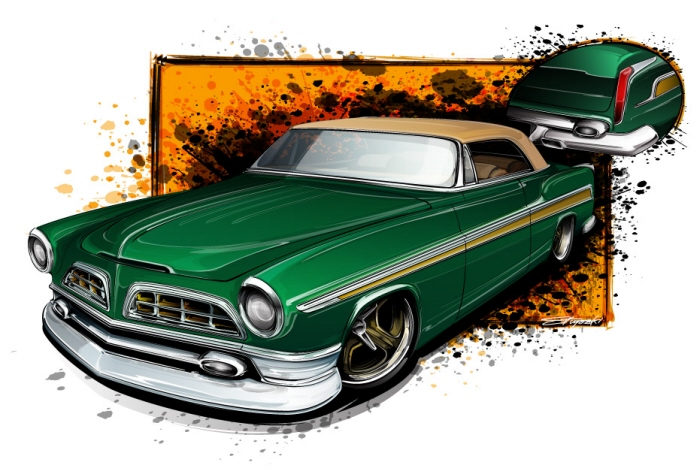 1955 chrysler,custom car, drawing cars