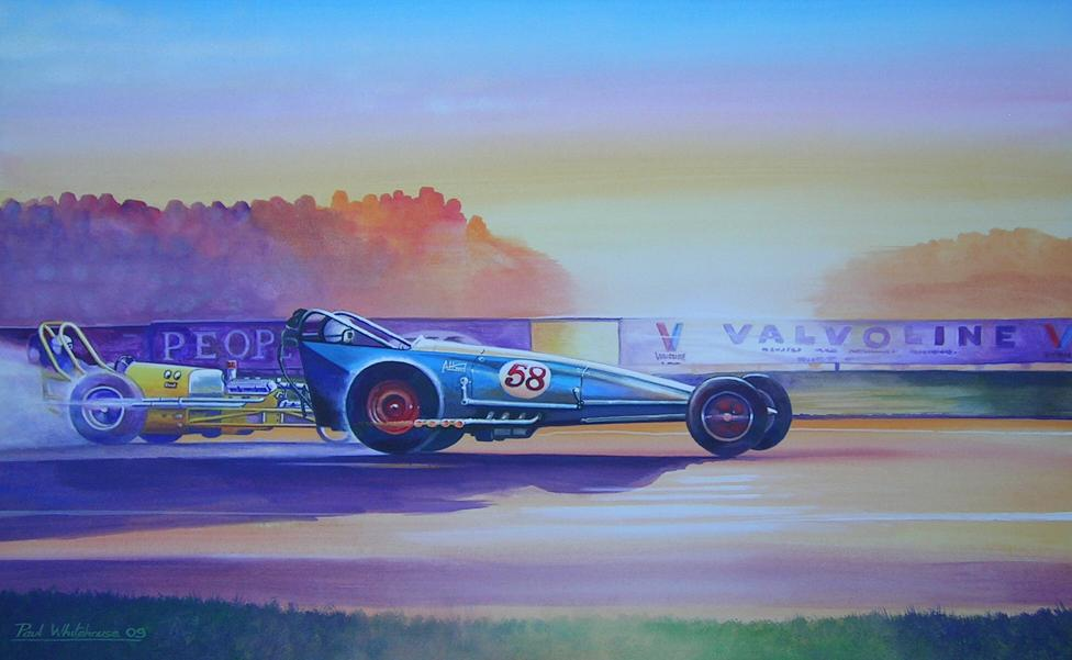 Allard dragster, painting by Paul Whitehouse