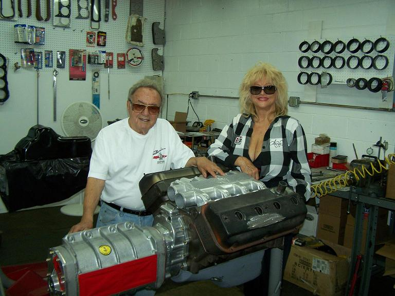 George Barris, Linda Vaughn, Allard dragster, blown Hemi engine