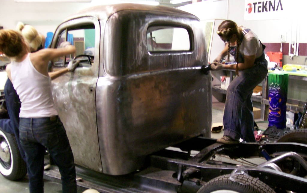 Girls Grinding Ford F1 Finish, metal finishing, home built hot rod truck