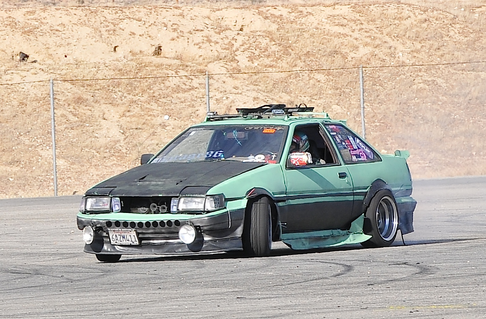 AE86, green, drift, boro,track day, grip day, roof rack