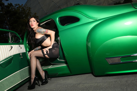 pin-up Monica Renee, pin up girl tattoos, hot rod pinup, pinup girls with VooDoo Larry's 46 Ford