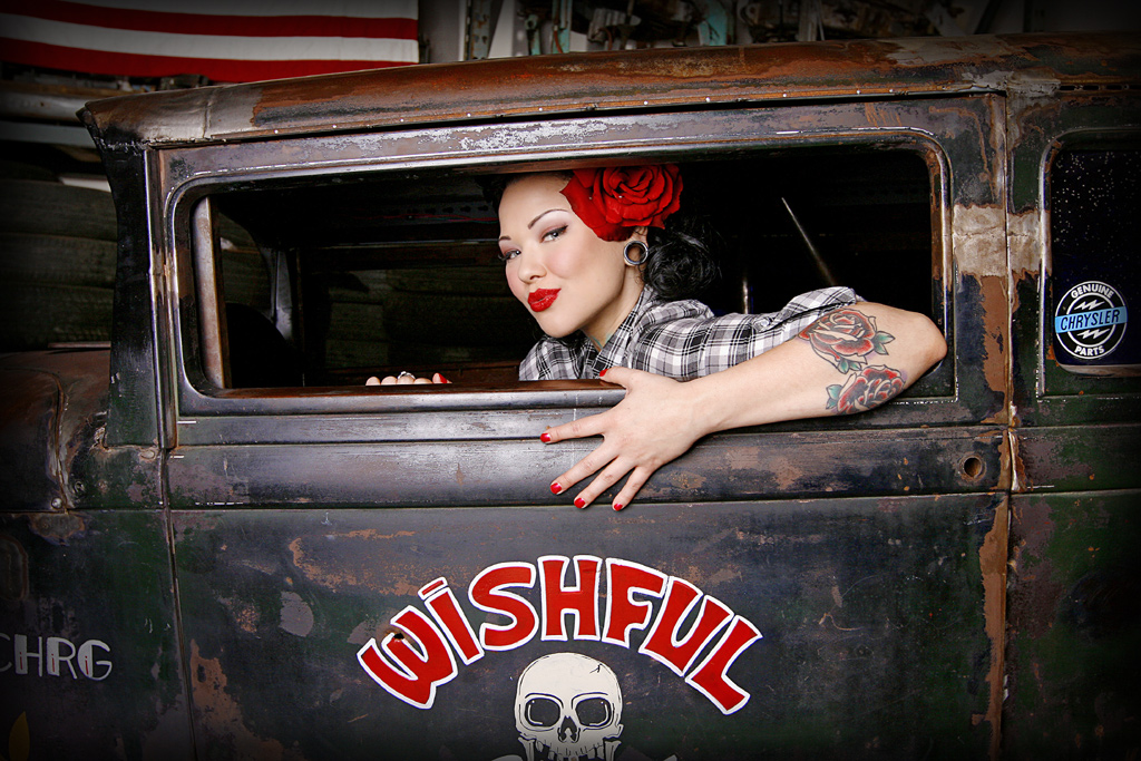 Cara Mia Hot Rod Pin Up in Ride, Hot Rod Pin Up Girl, Tattooed Pin Up Girl, Tattooed Hot Rot Pin Up , Rat Rod Pin Up