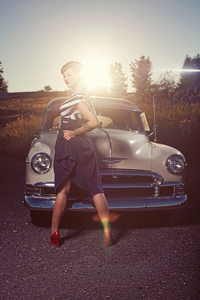 Cara Mia Pin Up Posing with Car, Hot Rod Pin Up Girl, Tattooed Pin Up Girl, Tattooed Hot Rod model