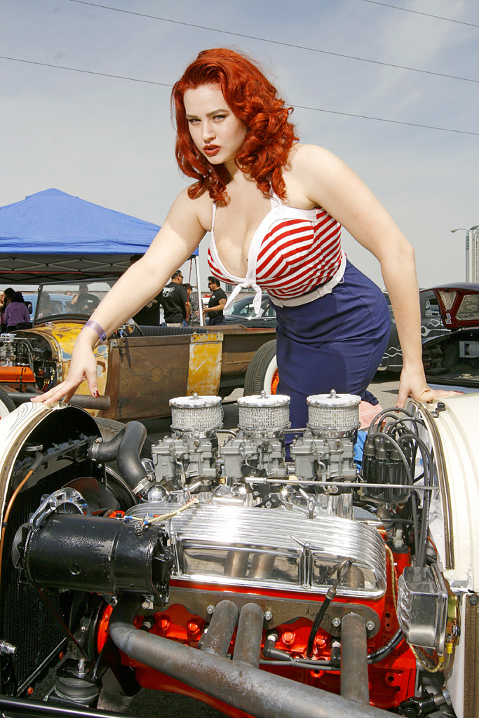 Gia Genevieve with Ride, Sexy Pin Up Girl Gia Genevieve, Hot Rod Pin Up Gia, Red Head Pin Up Girl Gia, 2010 Ink and Iron Queen