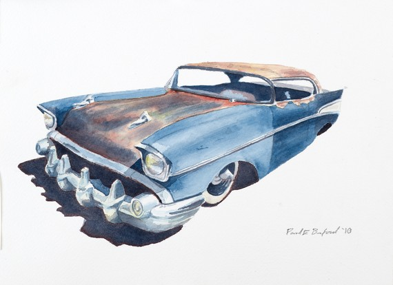Hot Rod Art, car art, 57 chevy, 1957 chevrolet bel air