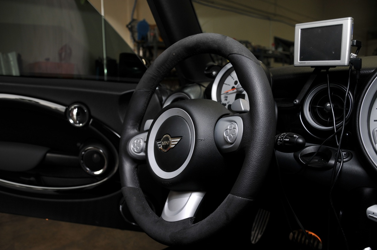JCW wheel, alcantara, custom paddle shifters