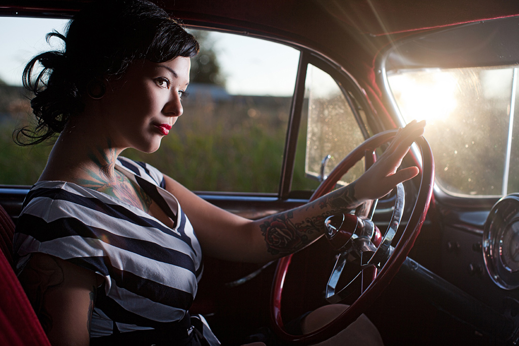 Pin Up Girl Cara Mia, Hot Rod Pin Up Girl, Tattooed Pin Up Girl, Tattooed Hot Rod Model
