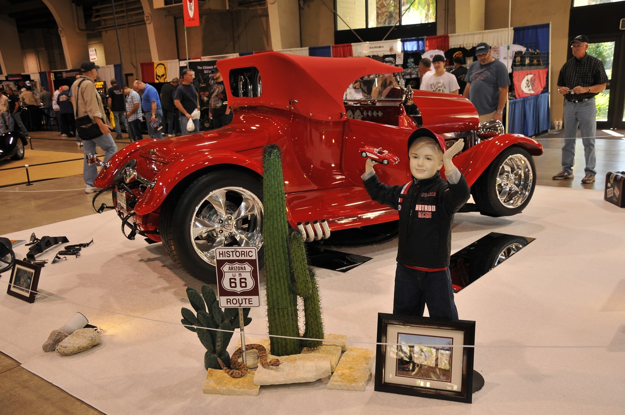 Route 66, Red Roadster, historical display, cactus